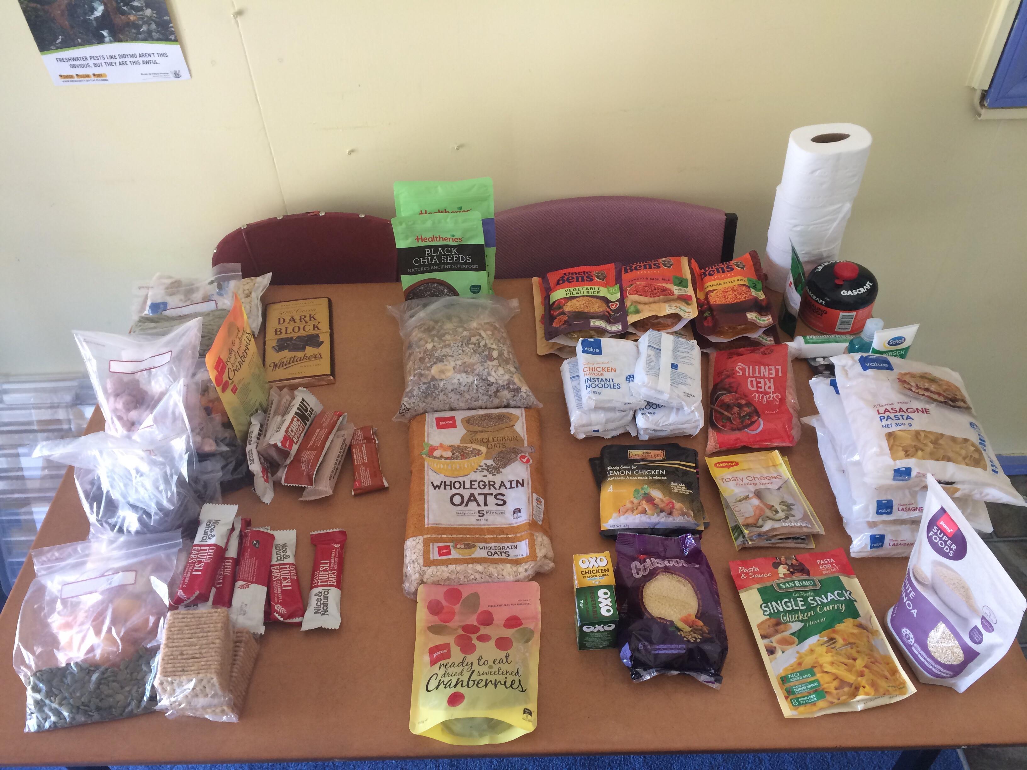 Vorräte Ernährung Fernwanderung Te Araroa