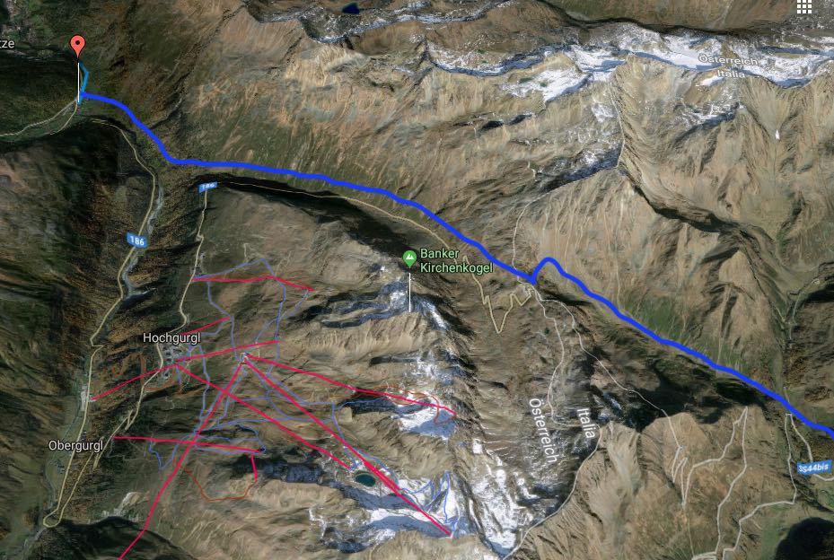 Alpenüberquerung Karte: Zwieselstein / Sölden zum Timmelsjoch