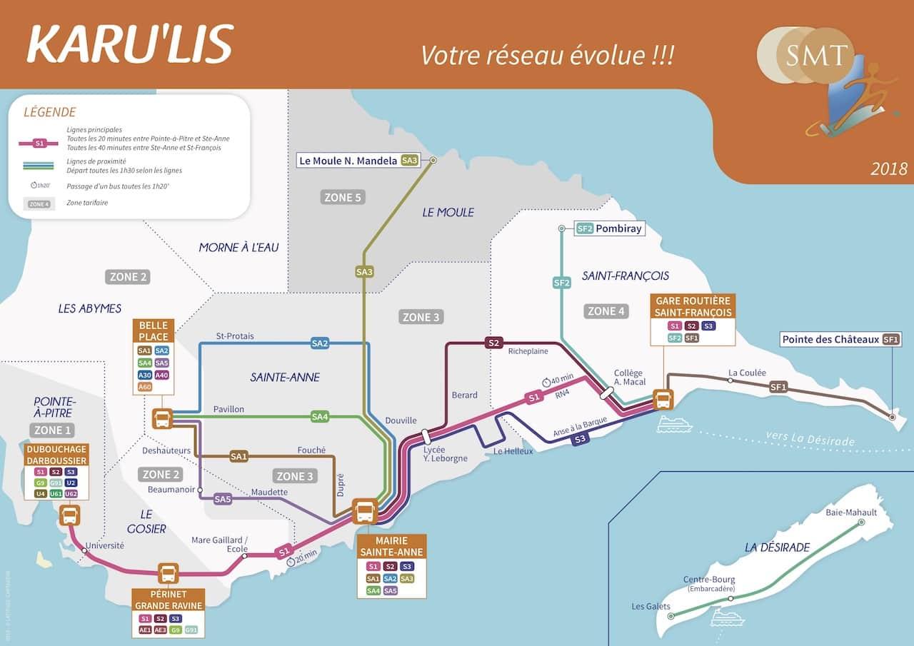 Guadeloupe Transportmittel Busplan