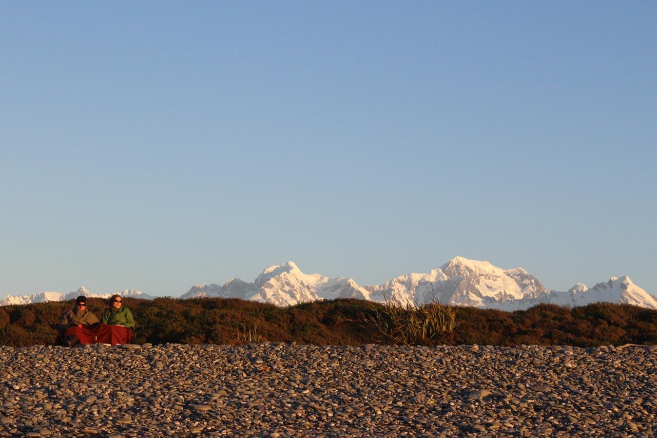 Gillespies Beach Campsite bei Sonnenuntergang