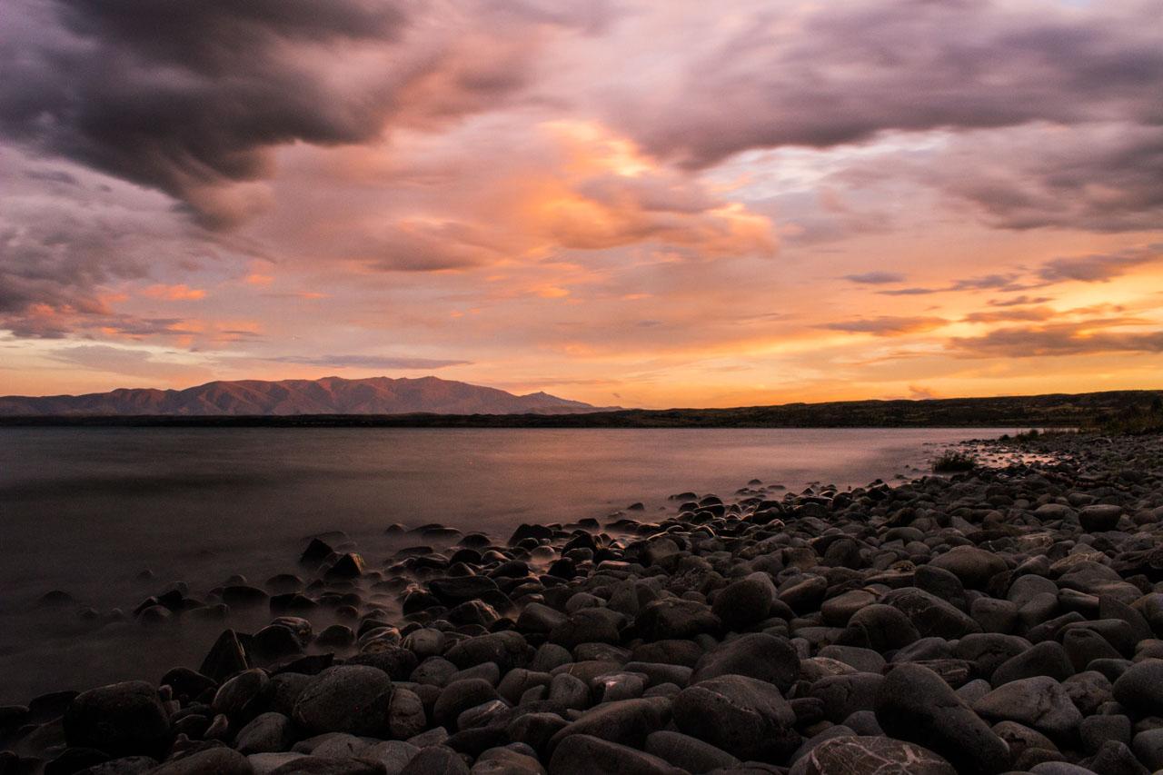 Sonnenuntergang Lake Middleton Campsite Neuseeland