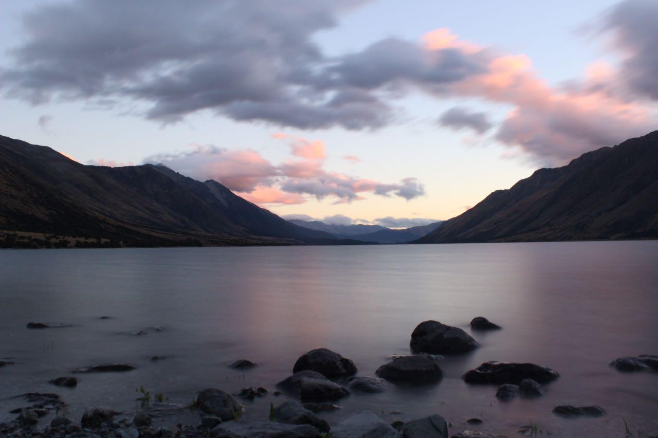 Mavora Lakes bei Sonnenuntergang Neuseeland Camping