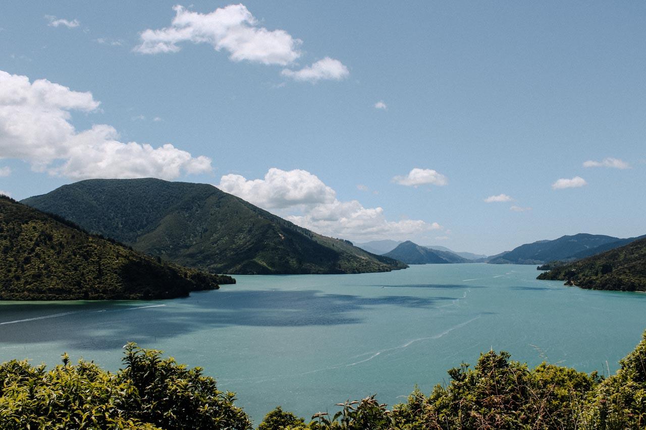 Aussicht auf Marlborough Sounds Neuseeland Route