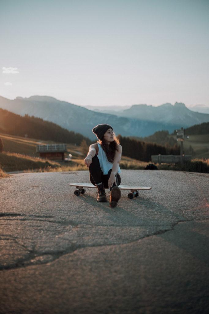 Longboard fahren auf der Seiser Alm